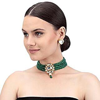 Swanky Green Kundan Necklace Set: Valentine Gifts Lucknow