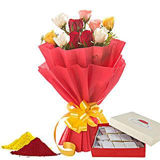 Sweet Holi Combo: Flowers & Sweets for Holi