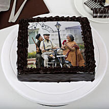 Tasty Truffle Rich Chocolate Photo Cake for Dad: Photo Cakes