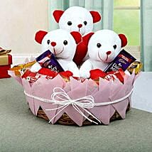 Teddy and Chocolate Basket: Friendship Day Chocolate Bouquet