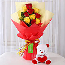 Teddy Bear with Red & Yellow Roses: Flowers & Teddy Bears for Birthday