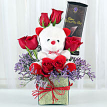 Teddy With Roses: Chocolate Bouquet to Delhi