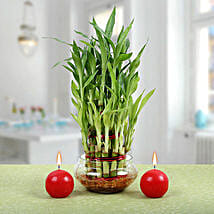 Three Layer Bamboo Plant With Red Candles: Diwali Gifts for Boss