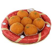 Tray Full Of Kesariya Motichoor Ladoo: Send Diwali Sweets to Pune