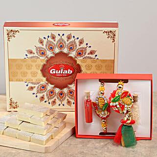 Trendy Bhaiya Bhabhi Rakhi & Kaju Katli Combo: Rakhi Gifts to Sagar