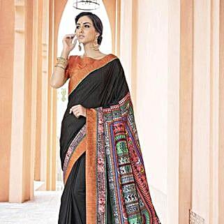 Trendy Black Printed office wear Art Silk Saree: