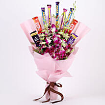 True Feelings- Purple Orchids & Chocolate Bouquet: Chocolate Bouquet for Girlfriend