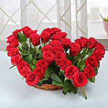 Two Red Hearts As One Basket Arrangement: Roses for anniversary