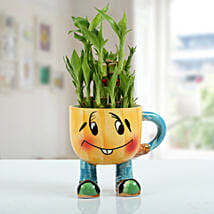Two Layer Bamboo Plant With Smiley Vase: Gifts to Katihar