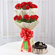Two Layer Red Carnations Bouquet & Chocolate Cake Combo: Flowers & Cakes Ludhiana