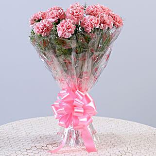 Unending Love-12 Light Pink Carnations Bouquet: Pink Flowers