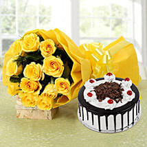 Yellow Roses Bouquet & Black Forest Cake: Gifts for 2Nd Birthday