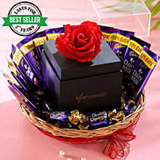 Forever Red Rose Chocolatey Basket: