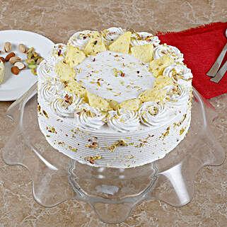 Vanilla Flavored Pista Rasmalai Cake: Sweets for Diwali