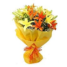 Vibrant Lilies Bouquet: Good Luck Gifts