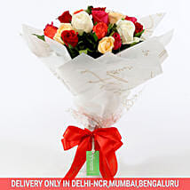 Vibrant Mixed Coloured Rose Bouquet: Flowers to Delhi