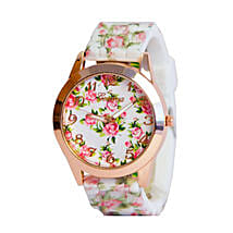 White Floral Silicone Watch For Women: Buy Watches