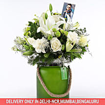 White Flowers In Green Jar: Bhai Dooj Personalised Gifts