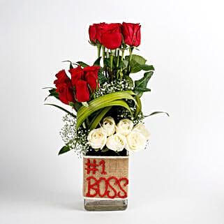 White & Red Roses Glass Vase Arrangement No 1 Boss: Gift For Boss