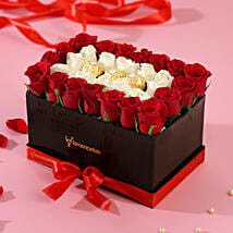 White & Red Roses Love Box: Combo Gifts