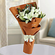 White Roses N Asiatic Lilies Bunch: Fathers day Flower Bouquets