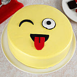 Wink Emoji Semi Fondant Cake: Pineapple Cakes Delivery
