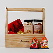 Wooden Basket of Diwali Gifts: Diwali Gifts for Parents