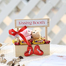 Wooden Kissing Booth With Chocolates: Kiss Day Gifts