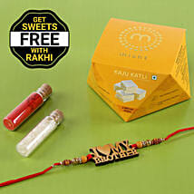 Wooden Rakhi With Free Kaju Katli Box: Rakhi to Maheshtala