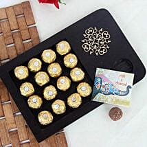 Wooden Tray Of Rocher Chocolates: Send Bhai Dooj Gifts to Noida