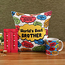 Worlds Best Bro Raksha Bandhan Combo: Rakhi With Cushions