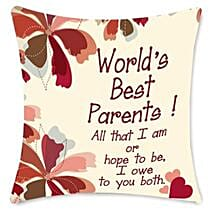 Worlds Best Parents cushion: Gifts for Parents