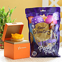 Yellow Forever Rose & Cadbury Party Pack: Flowers for Janmashtami