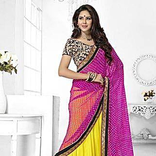 Yellow N Magenta Chiffon Saree: Saree Gifts