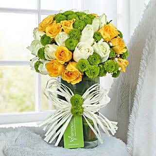 Yellow Rose Arrangement: Flowers to Bengaluru