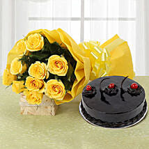 Yellow Roses and Cake: Send Flowers & Cakes to Indore