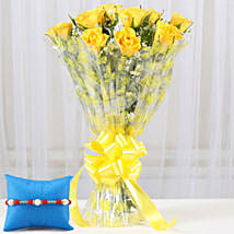 Yellow Roses Bouquet & Rakhi: Flower Delivery in S Bhagat Singh Nagar