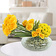 Yellow Roses N Daisies Arrangement: All Flowers