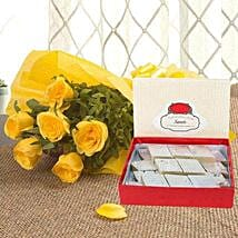 Yellow Roses N Kaju Katli: Gifts for Dussehra