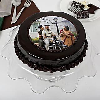 Yummy Chocolate Photo Cake For Dad: Photo Cakes to Mumbai