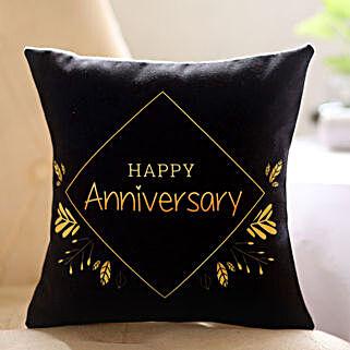 Black Happy Anniversary Printed Cushion: Send Anniversary Gifts to Malaysia