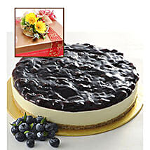 Blueberry Cheesecake With Flowers: Cake Delivery in Johor Bahru