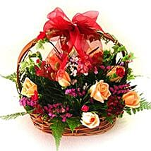 Exceptional Floral Beauty Basket: Romantic Gifts to Malaysia