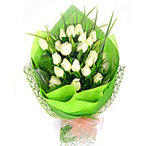Exotic White Roses Bouquet: Flowers to Johor Bahru