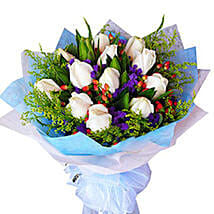 Flawless White Bouquet: Flower Delivery in Johor Bahru