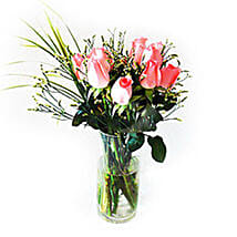 Pink Beauty in Clear Vase: Romantic Gifts to Malaysia