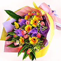 Pink Roses N Gerberas: Send Birthday Flowers To Malaysia