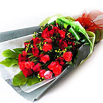 Red Roses with Foliage: Romantic Gifts in Malaysia