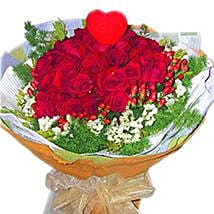 Roses with Foliage N Heart: Valentine Gift Shopping Malaysia