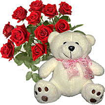 12 Kisses of Roses with Cream White Teddy Bear: Valentine's Day Gifts to Nepal